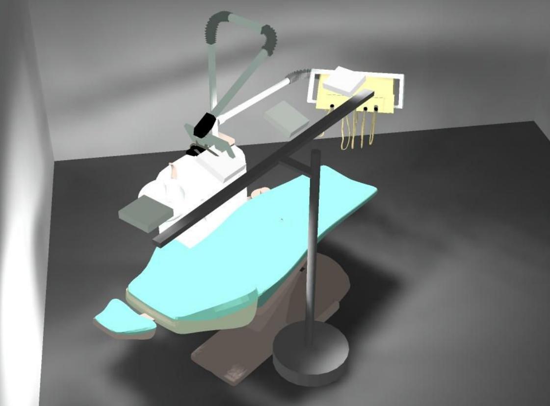 Detalle de un renderizado 3D de un estudio de eficacia de una instalación de desinfección con luz ultravioleta Led UVC