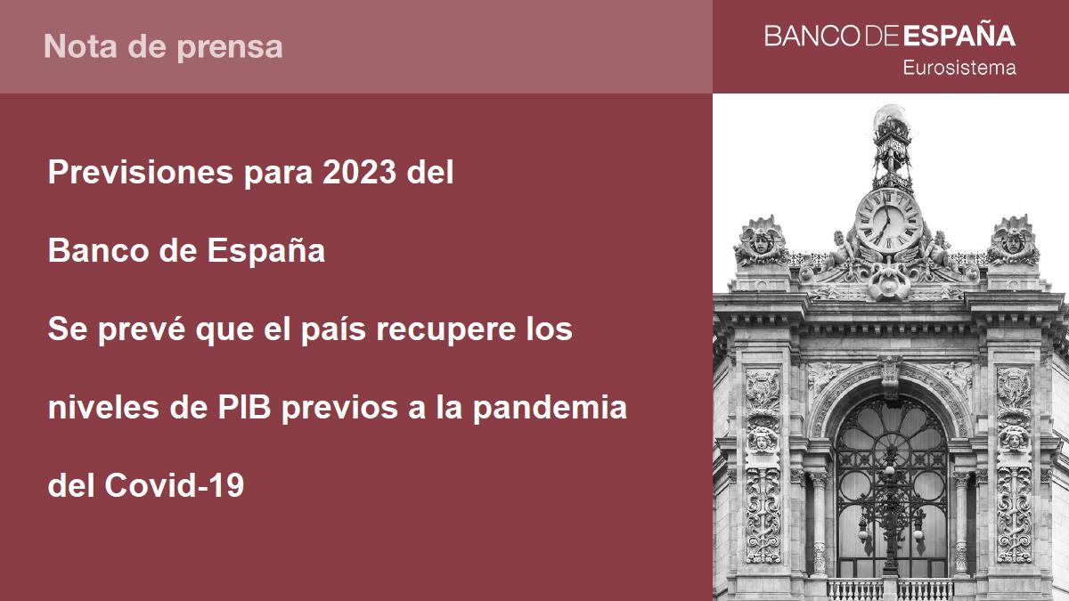 El Banco de España prevé que no se recuperará el PIB previo de la pandemia  hasta el 2023
