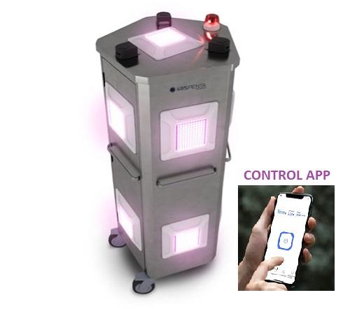 Robot luz led ultravioleta IrisPenta paar desinfección entre paciente y paciente en una clínica dental