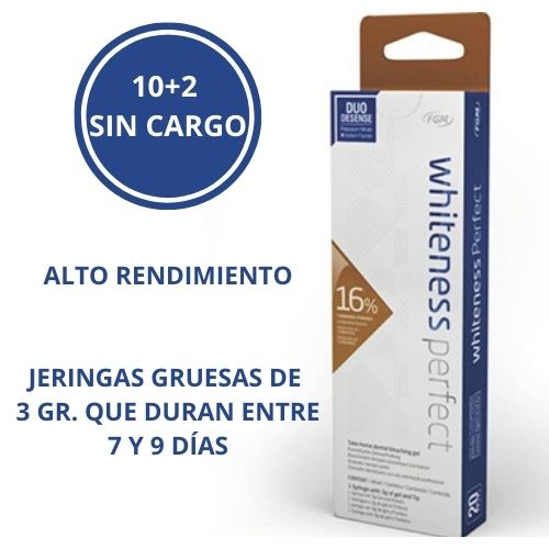 OFERTA 10 JERINGAS + 2 SIN CARGO DE  BLANQUEAMIENTO CASERO AL 16% WHITENESS PERFECT DE FGM