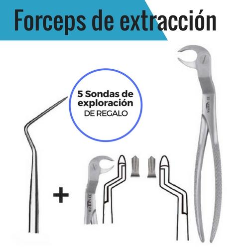 OFERTA 2 FORCEPS DE EXTRACCIÓN TERCEROS MOLARES INFERIORES + 5 SONDAS ESPACIADORAS EXTRAFINAS - INSTRUMENTAL MASTER