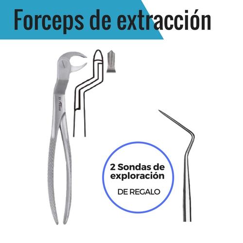 FORCEPS (DERECHA) DE EXTRACCIÓN TERCEROS MOLARES INFERIORES + 2 SONDAS ESPACIADORAS EXTRAFINAS - INSTRUMENTAL MASTER