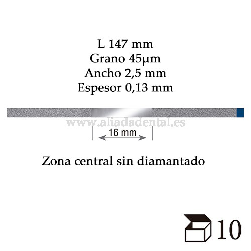 EDENTA TIRA PULIDO PROXIMAL DIAMANTADO ESTANDAR MEDIO 147X2,5X0,13