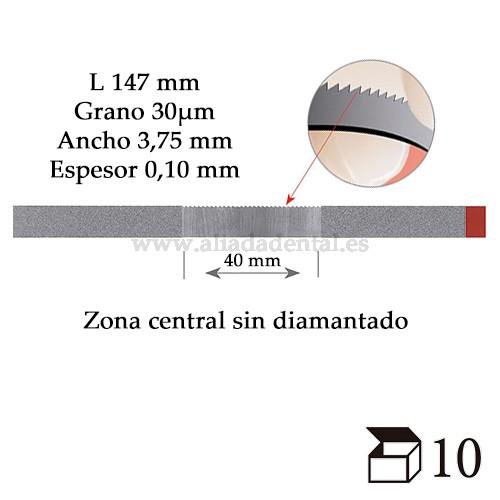 EDENTA TIRA PULIDO PROXIMAL DIAMANTADO FINO CON DENTADO DE SIERRA 147X3,75X0,10