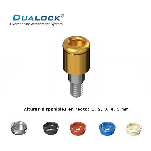 DUALOCK® ATACHE SIMILAR A LOCATOR® COMPATIBLE CON BRANEMARK HEX. EXTERNO PILAR RECTO 3.3 ALTO 6 MM.